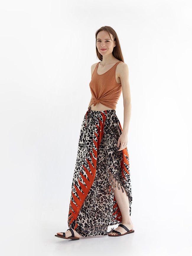CHEETAH maxi skirt with drawstring and side slit