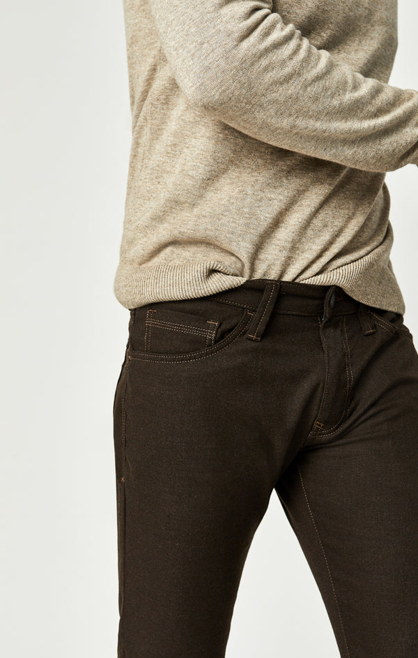 MARCUS SLIM STRAIGHT LEG PANTS IN BROWN FEATHER TWEED - Mavi Jeans