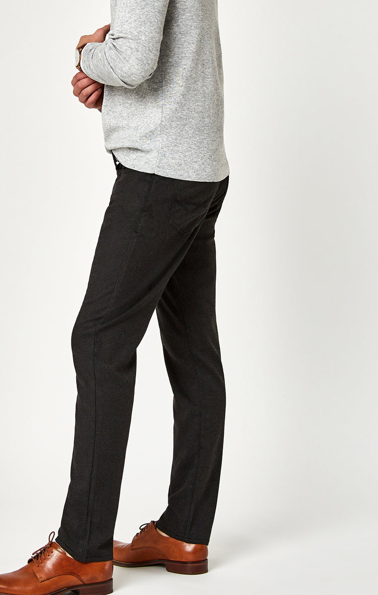 MARCUS SLIM STRAIGHT LEG IN CHARCOAL FEATHER TWEED