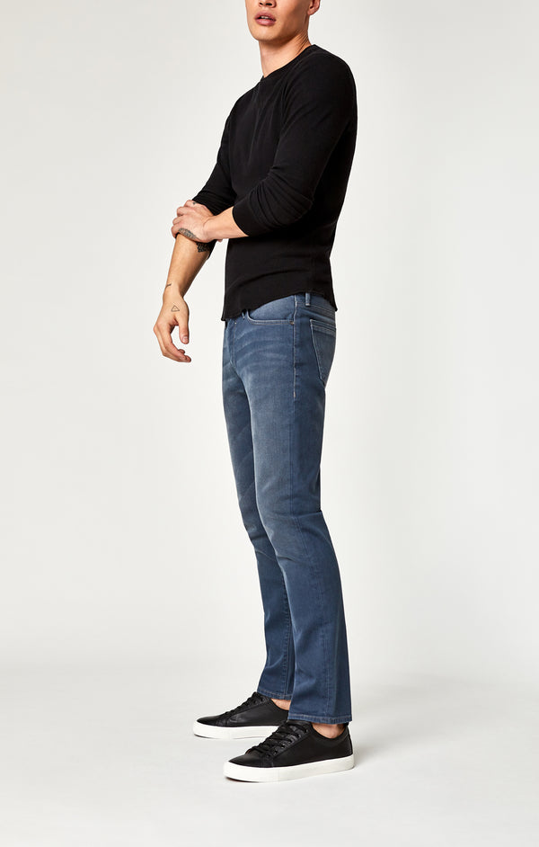 MARCUS SLIM STRAIGHT LEG JEANS IN DARK BLUE-GREY WHITE EDGE - Mavi Jeans
