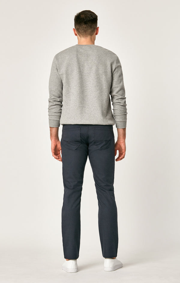MARCUS SLIM STRAIGHT LEG PANTS IN NAVY FEATHER TWEED - Mavi Jeans