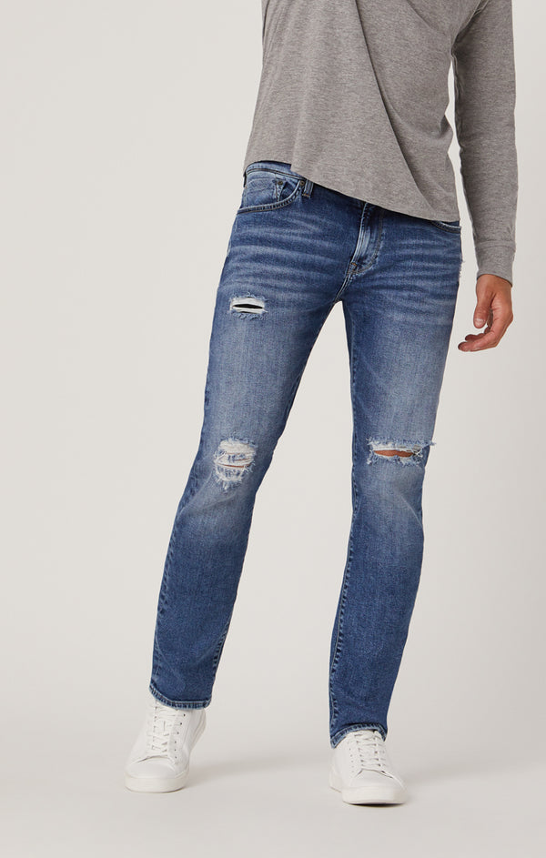 MARCUS SLIM STRAIGHT LEG JEANS IN MID RIPPED AUTHENTIC VINTAGE - Mavi Jeans