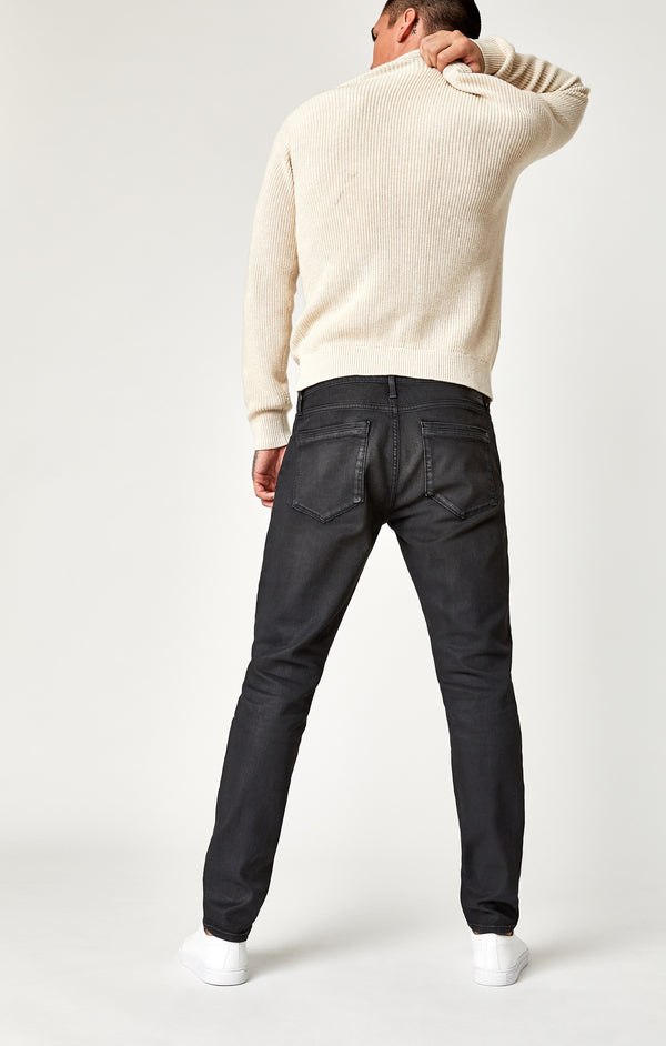 JAKE SLIM LEG JEANS IN COATED CHARCOAL WHITE EDGE - Mavi Jeans