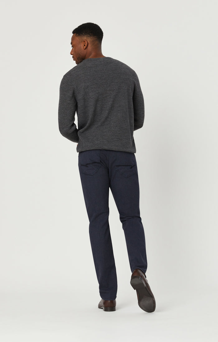 JAKE SLIM LEG PANTS IN NAVY HERRINGBONE - Mavi Jeans