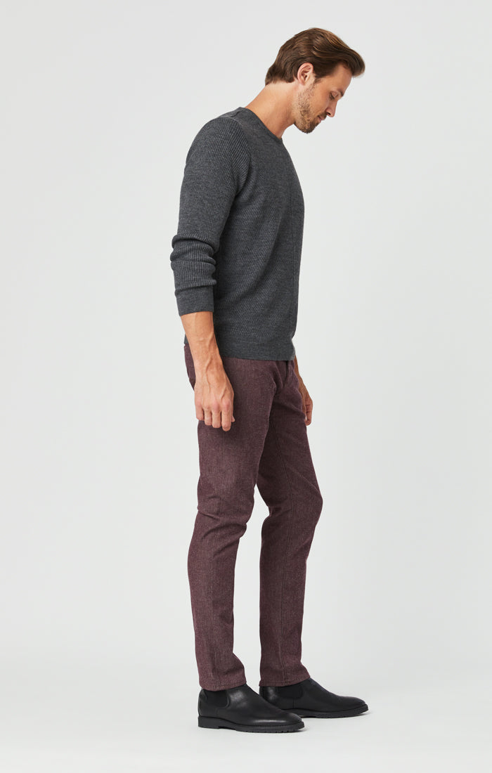 JAKE SLIM LEG PANTS IN BURGUNDY FEATHER TWEED - Mavi Jeans
