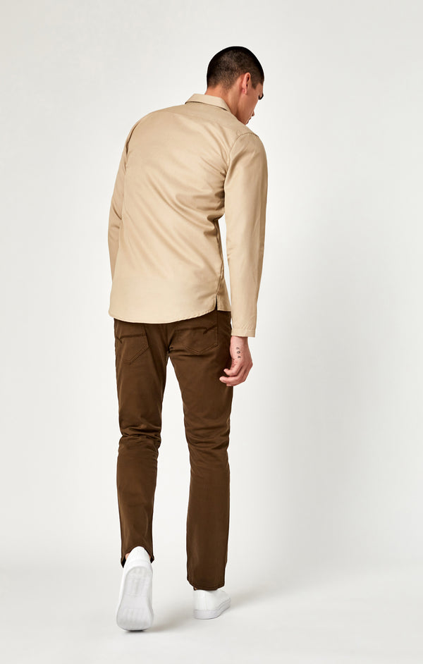 MARCUS SLIM STRAIGHT LEG PANTS IN BROWN TWILL - Mavi Jeans