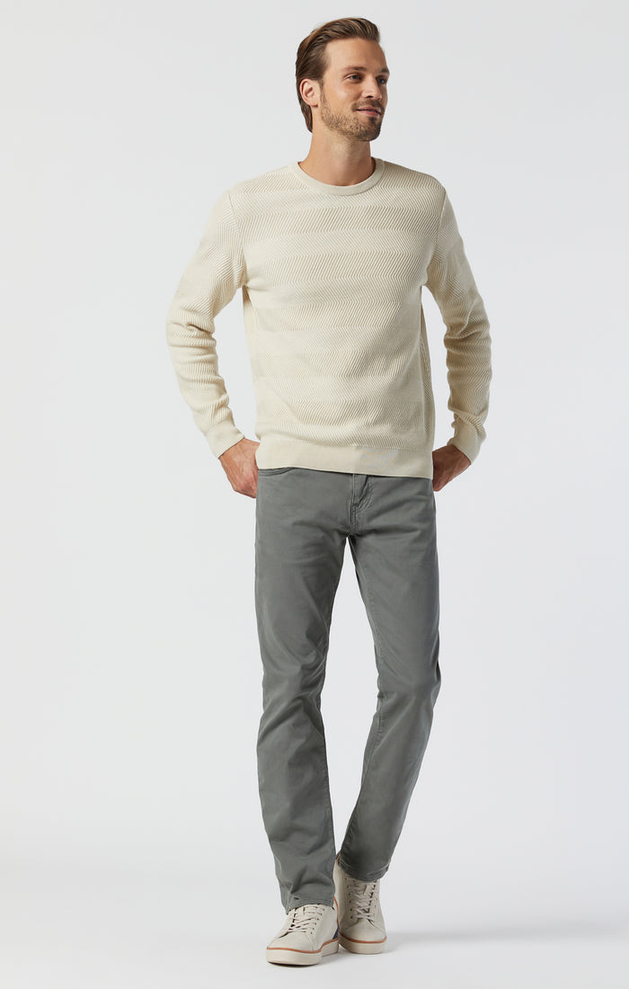 ZACH STRAIGHT LEG PANTS IN CASTOR GREEN SATEEN - Mavi Jeans