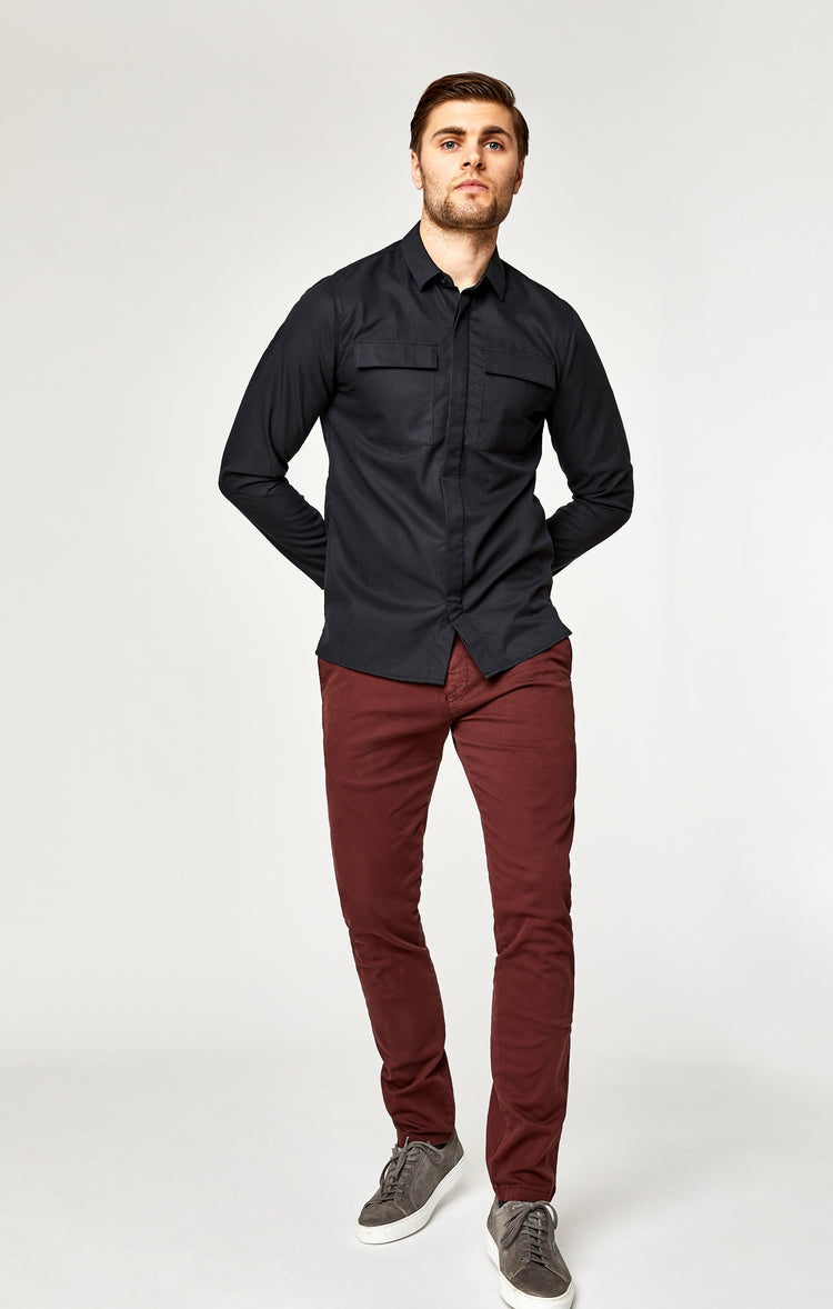 JOHNNY SLIM CHINO IN BURGUNDY TWILL - Pants - Mavi Jeans