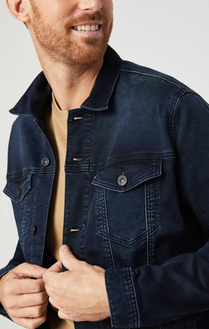 DRAKE DENIM JACKET IN BLUE BLACK ATHLETIC - Mavi Jeans