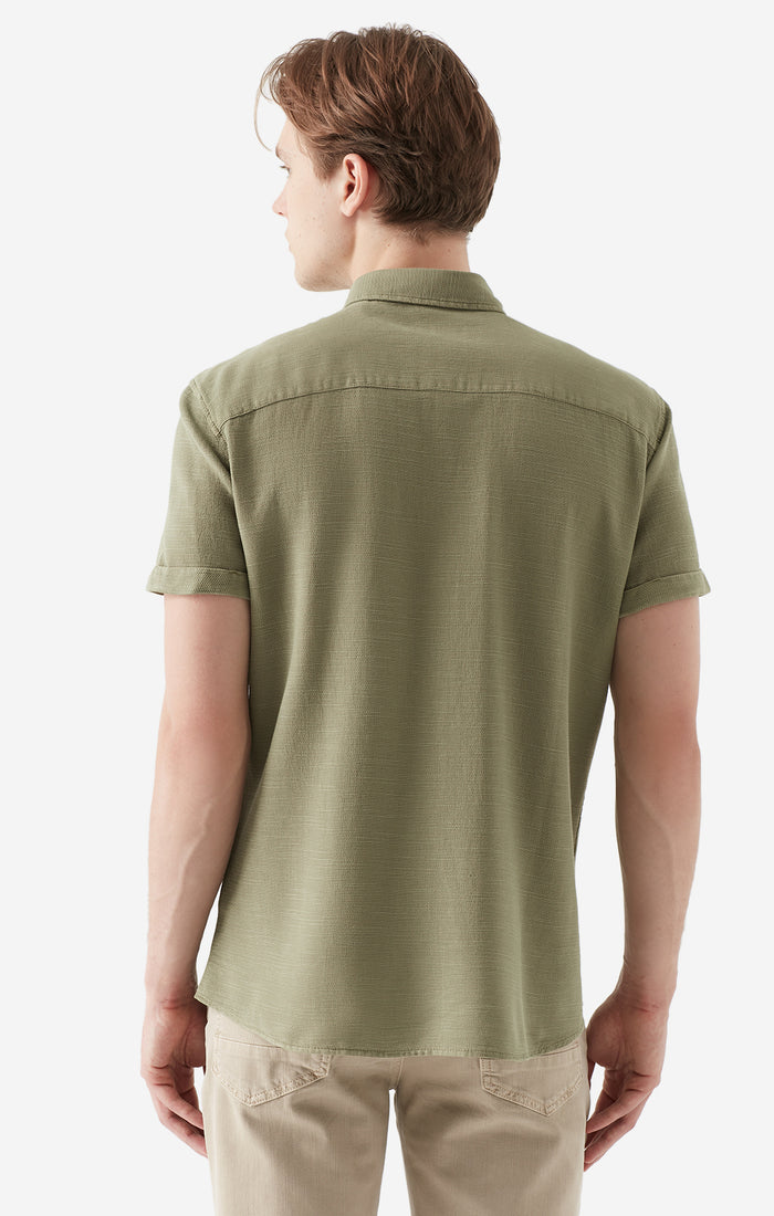 KEVIN SLIM FIT BUTTON-UP T-SHIRT IN OLIVE - Mavi Jeans