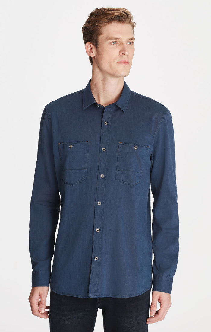 SAUL SLIM FIT BUTTON UP SHIRT IN NAVY - Mavi Jeans