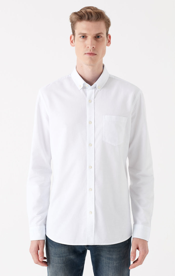 DAVE BUTTON DOWN SHIRT IN WHITE - Mavi Jeans