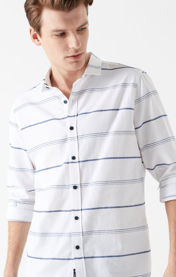 WILL EXTRA SLIM FIT BUTTON UP SHIRT IN NAVY STRIPED - Mavi Jeans