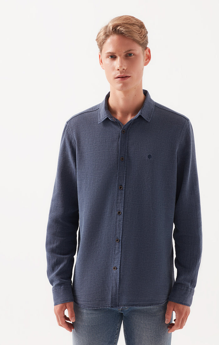 SCOTT SLIM FIT BUTTON UP SHIRT IN DARK BLUE - Mavi Jeans
