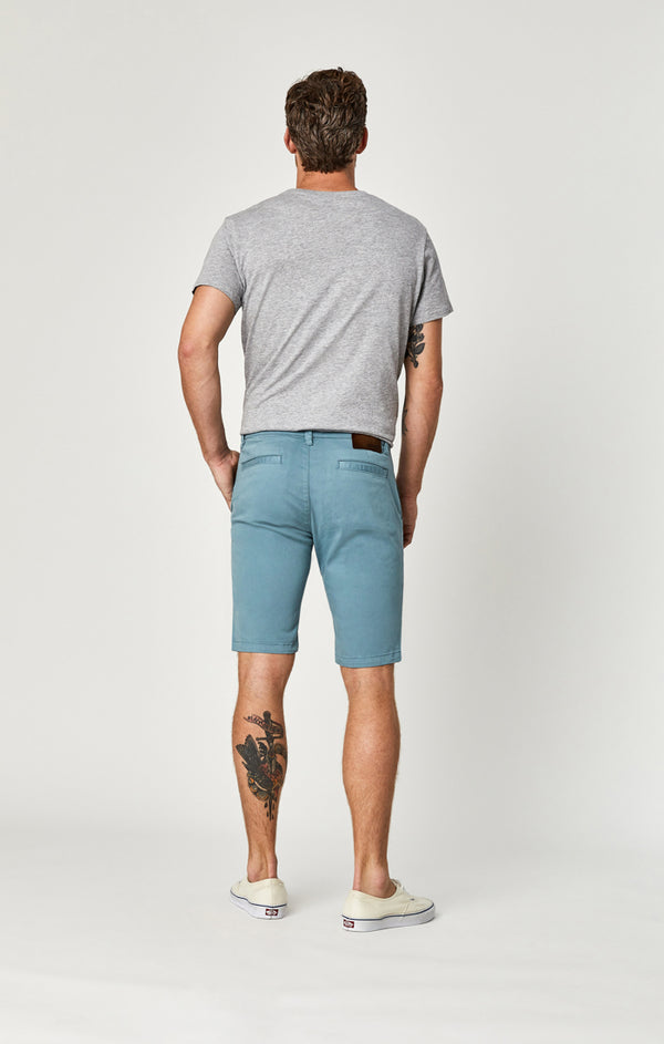 JACOB SHORTS IN SMOKE BLUE SATEEN TWILL - Mavi Jeans