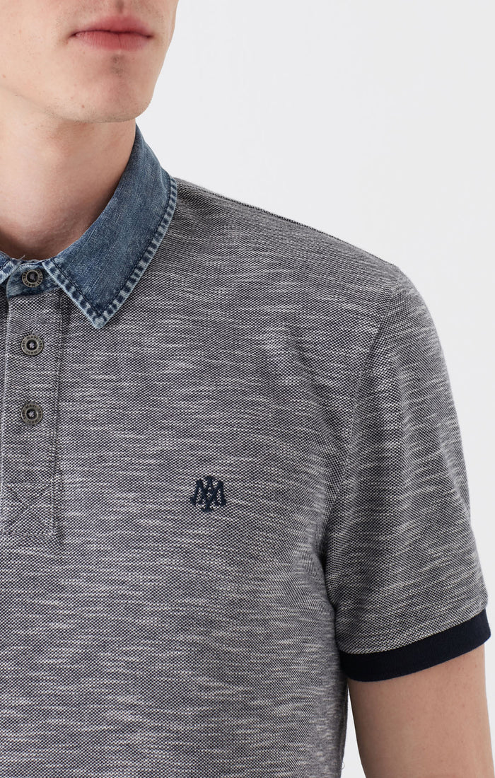 HENRY EXTRA SLIM FIT POLO T-SHIRT IN GREY MELANGE - Mavi Jeans