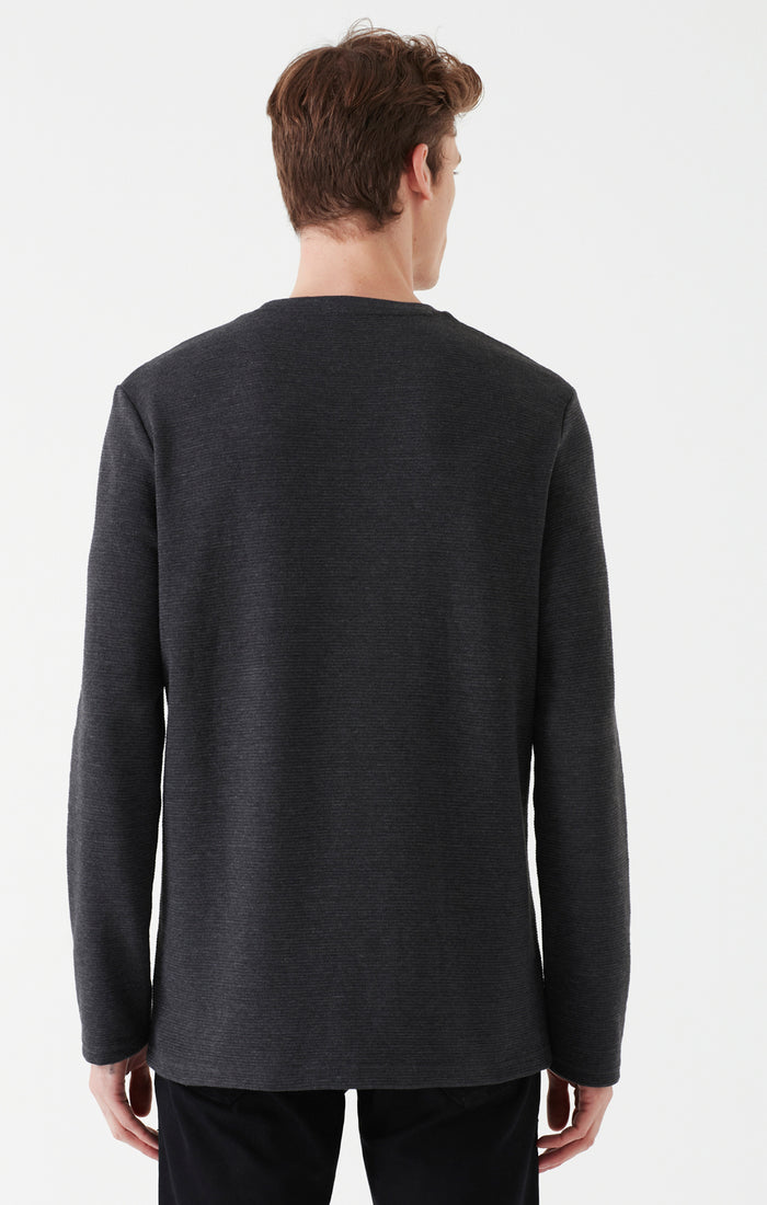 KURT RIBBED LONG SLEEVE SHIRT IN CHARCOAL - Mavi Jeans