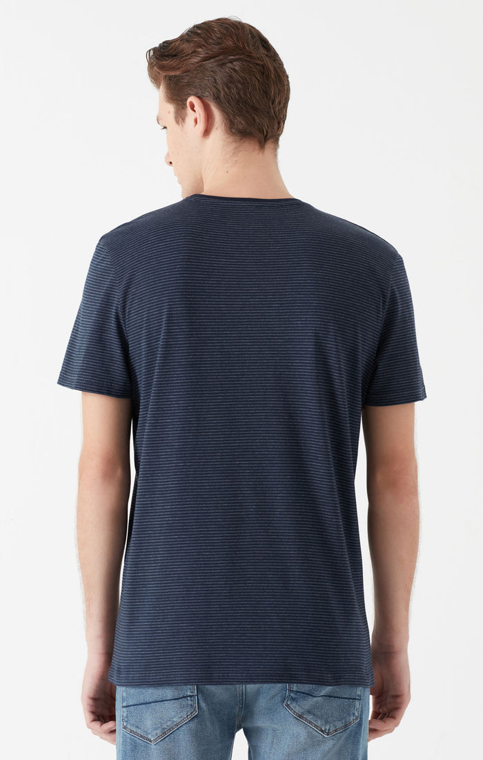 CLARK SLIM FIT T-SHIRT IN STRIPED NAVY - Mavi Jeans