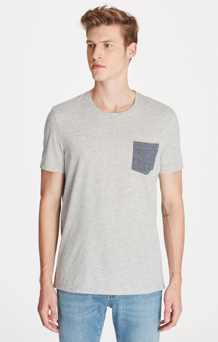 CRAIG SLIM FIT T-SHIRT WITH POCKET IN LIGHT GREY - Mavi Jeans
