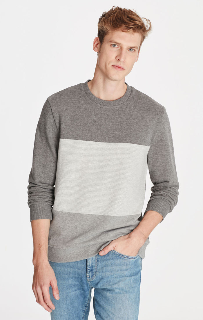 NEIL CREWNECK SWEATSHIRT IN GREY BLOCKING - Mavi Jeans