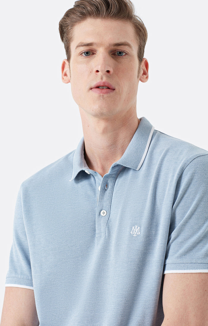 FRANK EXTRA SLIM FIT POLO T-SHIRT IN LIGHT BLUE - Mavi Jeans