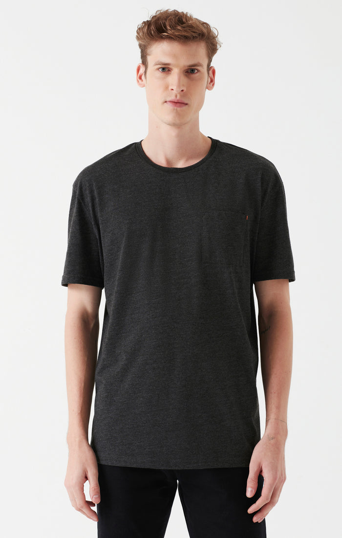 TODD SLIM FIT T-SHIRT WITH POCKET IN GREY MELANGE - Mavi Jeans