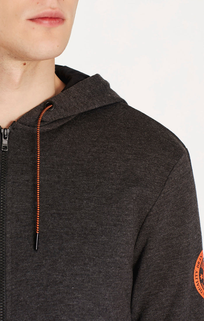 REID SLIM FIT ZIP UP HOODIE IN GREY MELANGE - Mavi Jeans