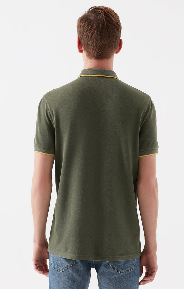 KARL SLIM FIT POLO T-SHIRT IN OLIVE - Mavi Jeans