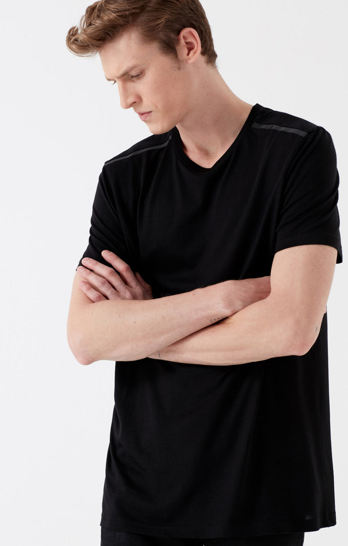 CHASE SLIM FIT STRIPED T-SHIRT IN BLACK - Mavi Jeans
