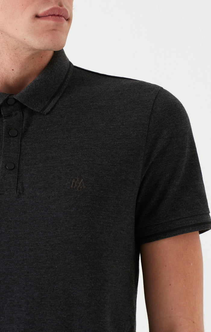 KENT EXTRA SLIM FIT POLO T-SHIRT IN CHARCOAL MELANGE - Mavi Jeans
