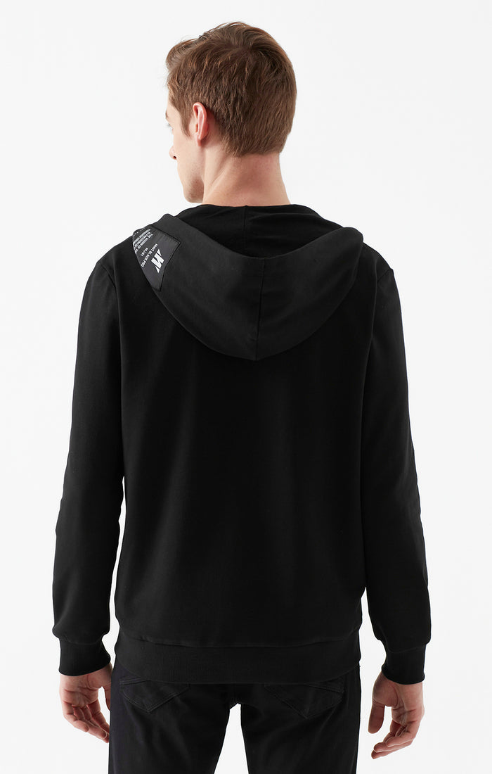 SHANE ZIP UP HOODED SWEATSHIRT IN BLACK - Mavi Jeans