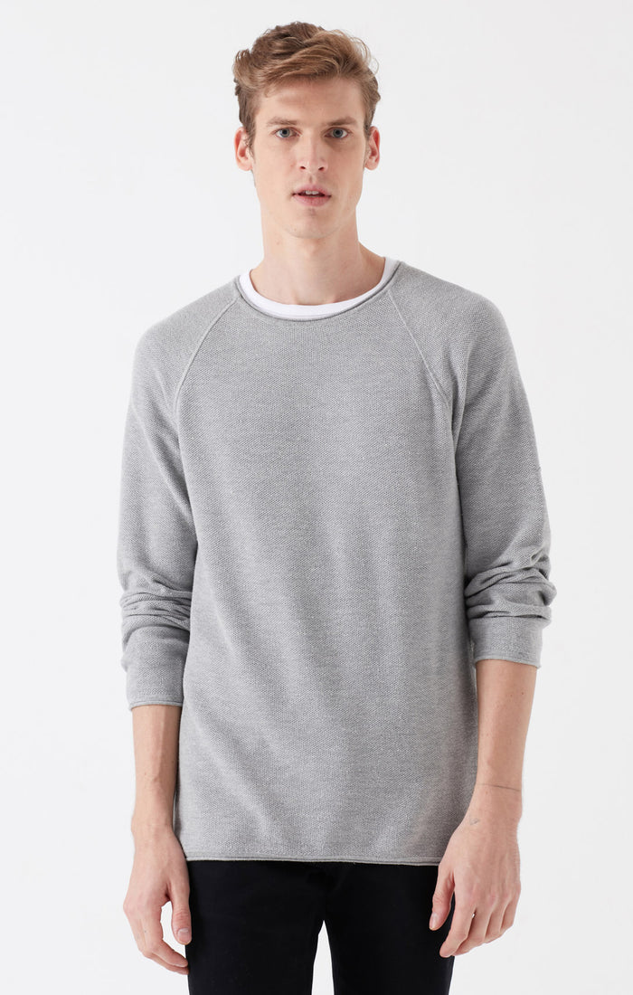 GRANT SLIM FIT CREWNECK SWEATER IN LIGHT GREY - Mavi Jeans