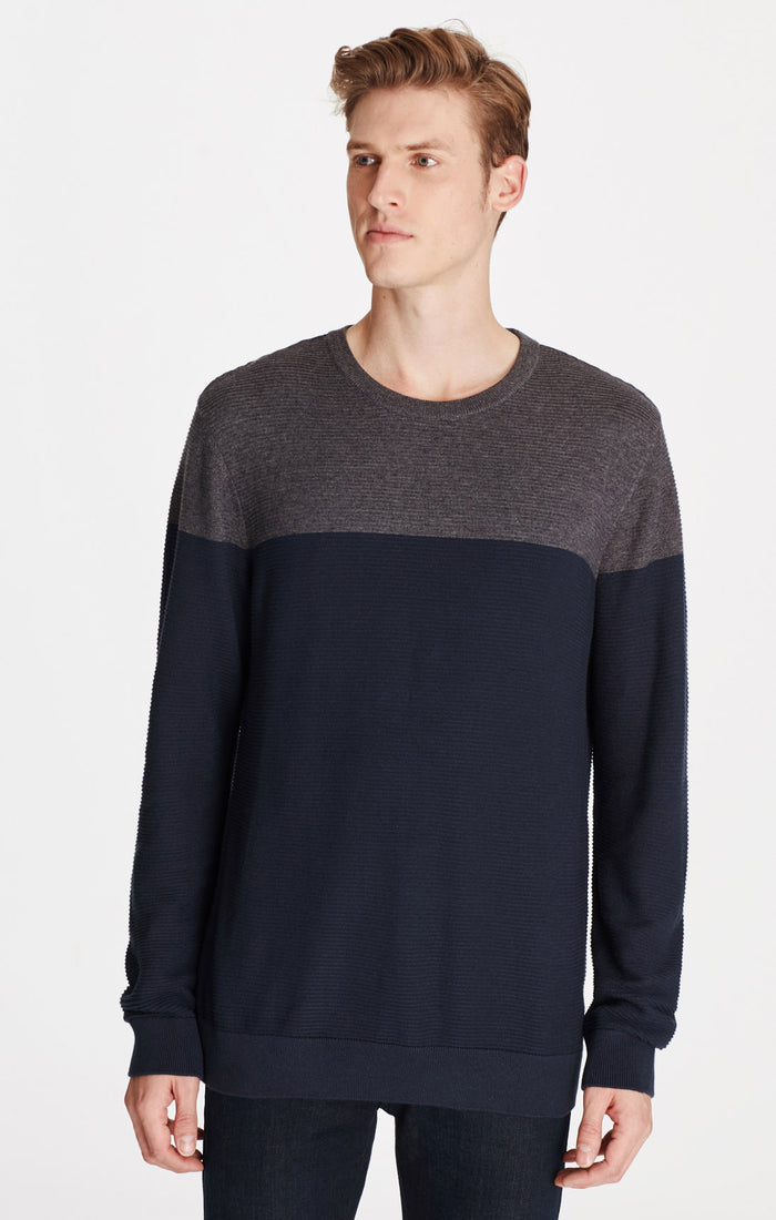 SAM SLIM FIT COLOUR BLOCK SWEATER IN DARK GREY - Mavi Jeans