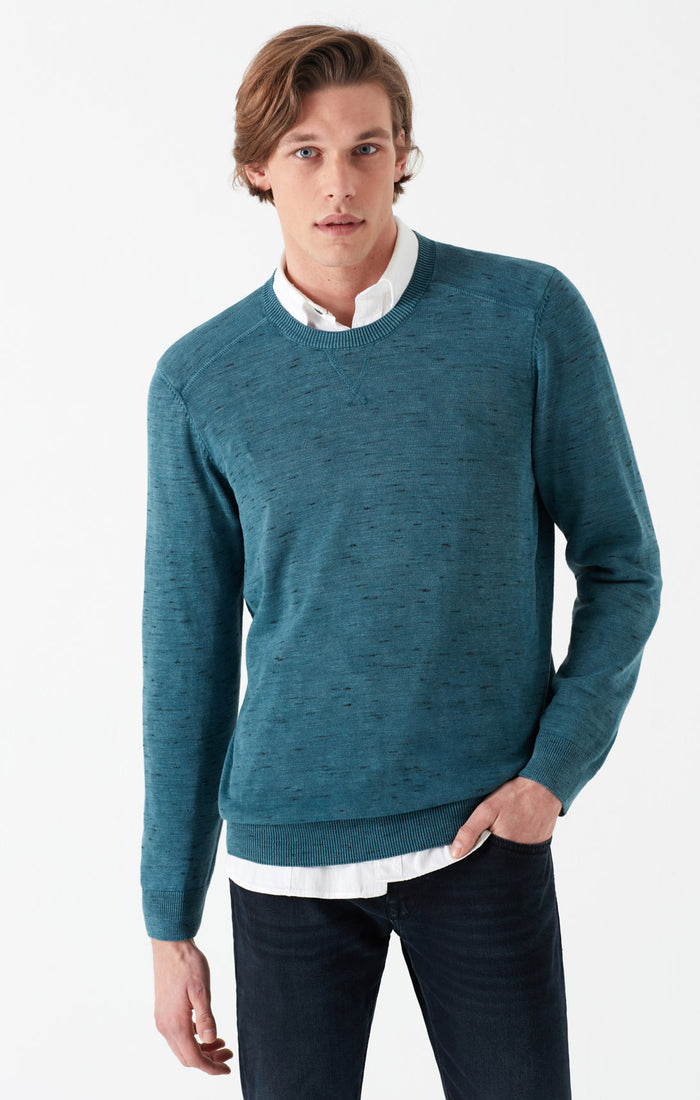 ROSS SLIM FIT SWEATER IN HEATHERED TEAL - Mavi Jeans