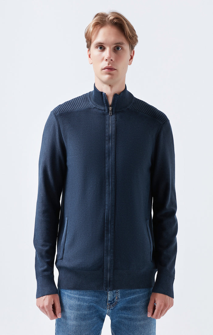 WARREN REGULAR FIT ZIP UP KNIT JACKET IN NAVY - Mavi Jeans