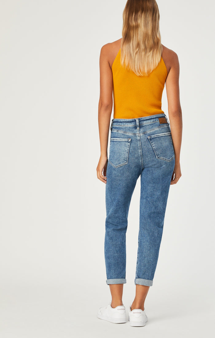 CINDY MOM JEANS IN MID RIPPED LA VINTAGE - Mavi Jeans