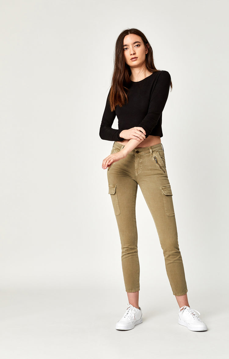 JULIETTE SKINNY CARGO IN KHAKI WASHED TWILL - Pants - Mavi Jeans