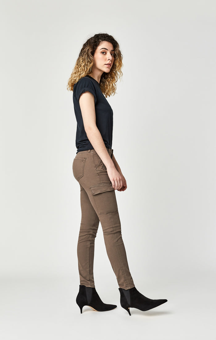 JULIETTE SKINNY CARGO PANTS IN DARK LATTE TWILL