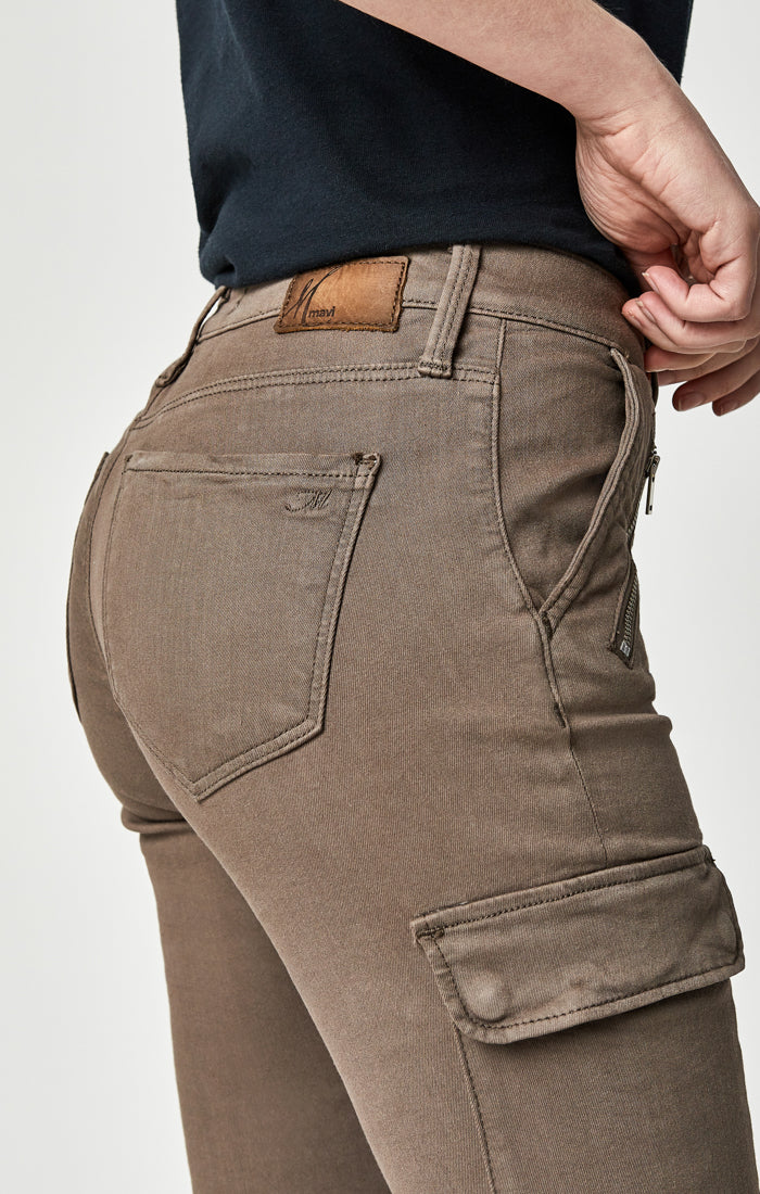 JULIETTE SKINNY CARGO PANTS IN DARK LATTE TWILL - Mavi Jeans