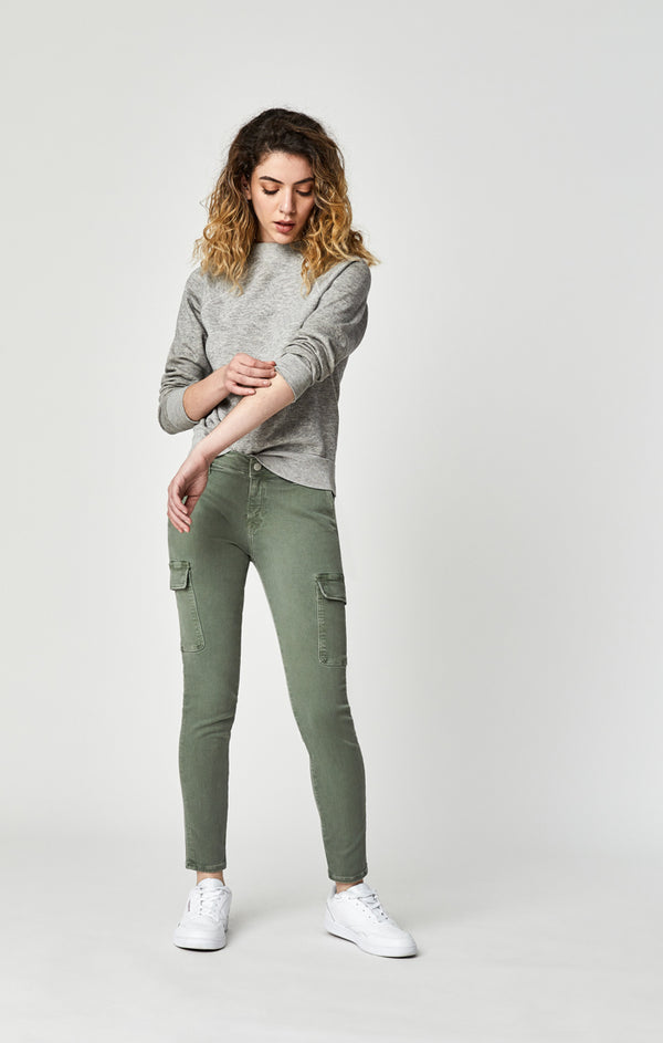 JULIETTE SKINNY CARGO PANTS IN LIGHT GREEN TWILL - Mavi Jeans