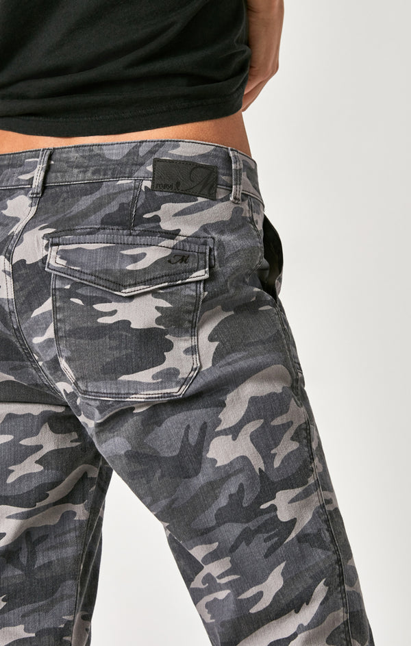 IVY RELAXED CARGO PANTS IN GREY CAMO - Mavi Jeans