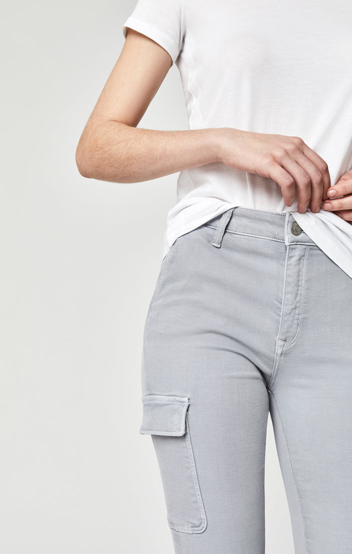 ARINA SKINNY CARGO PANTS IN LIGHT GREY - Mavi Jeans