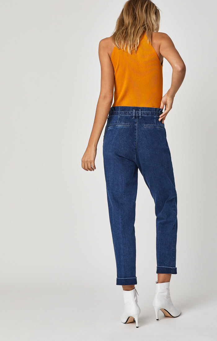 BECCA BELTED TROUSERS IN DARK CLASSIC DENIM - Mavi Jeans