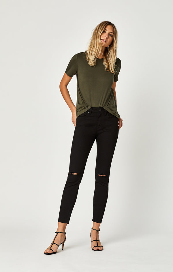 ALISSA ANKLE SUPER SKINNY JEANS IN DOUBLE BLACK RIPPED TRIBECA - Mavi Jeans