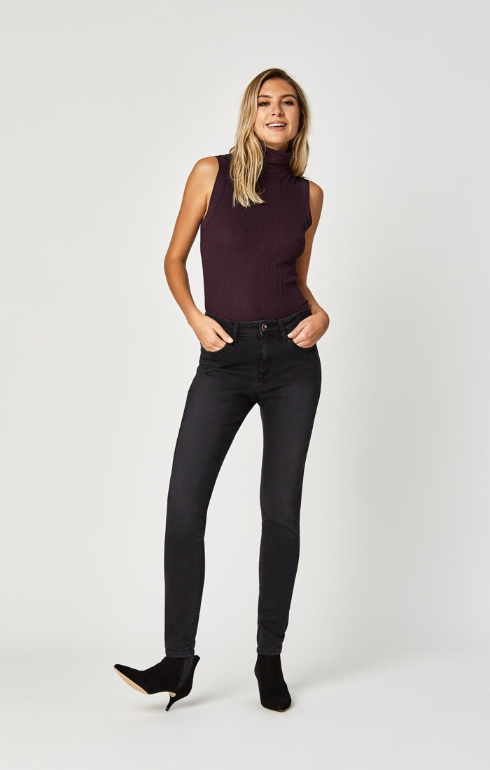 ALISSA SUPER SKINNY JEANS IN GREY GOLD LUX MOVE