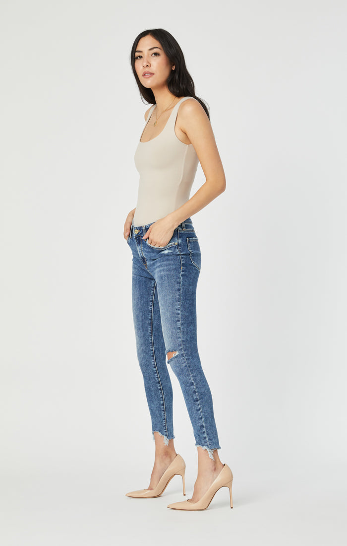 ALISSA SUPER SKINNY JEANS IN MID RIPPED & DESTROYED HEM VINTAGE - Mavi Jeans