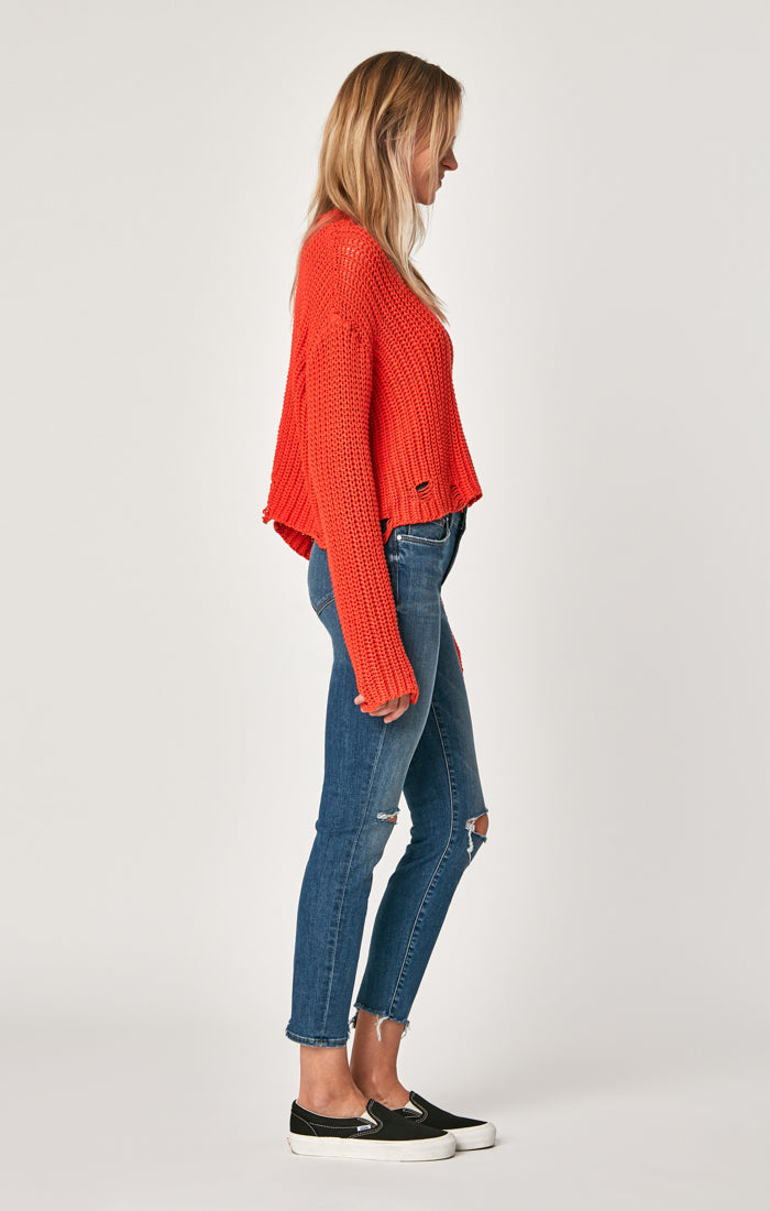 ADRIANA ANKLE SUPER SKINNY JEANS IN MID RIPPED VINTAGE - Mavi Jeans