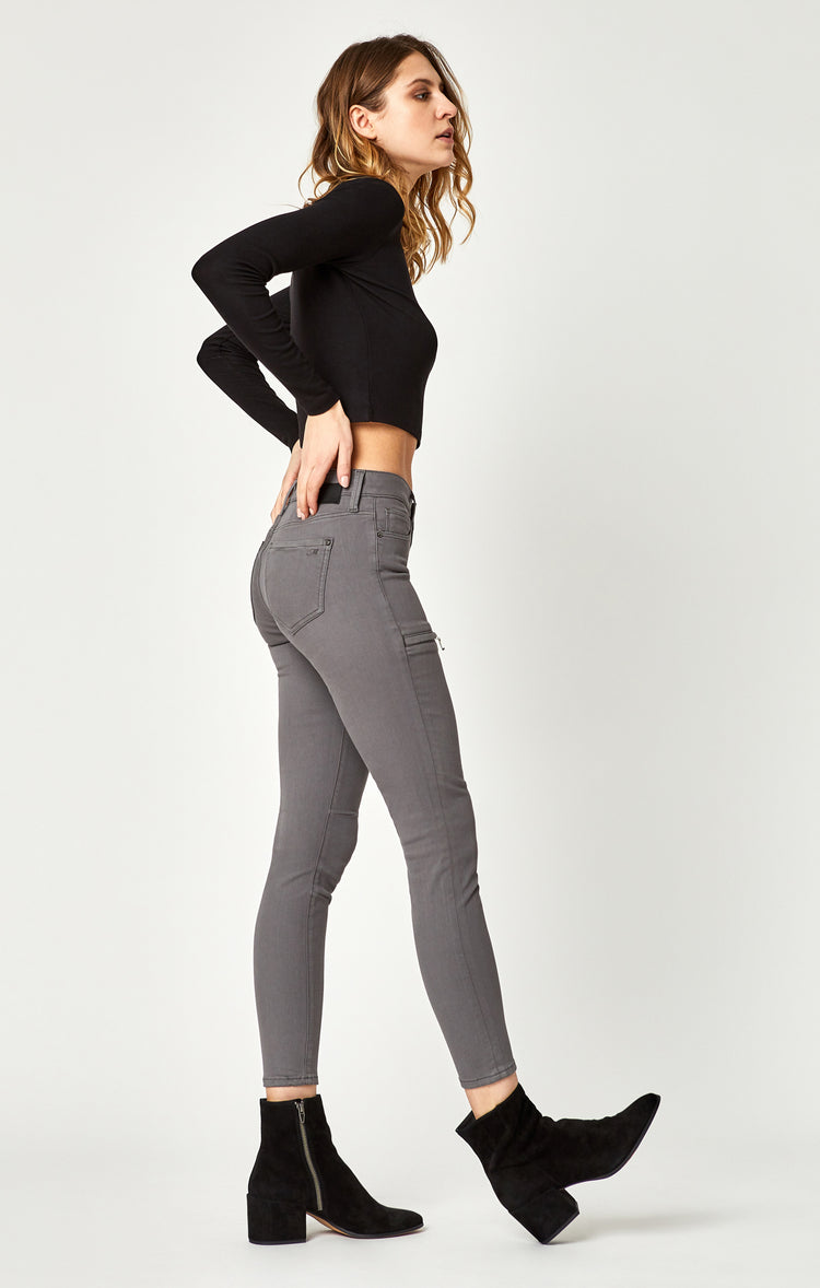 KARLINA SKINNY CARGO PANTS IN GRANITE GREY TWILL - Pants - Mavi Jeans