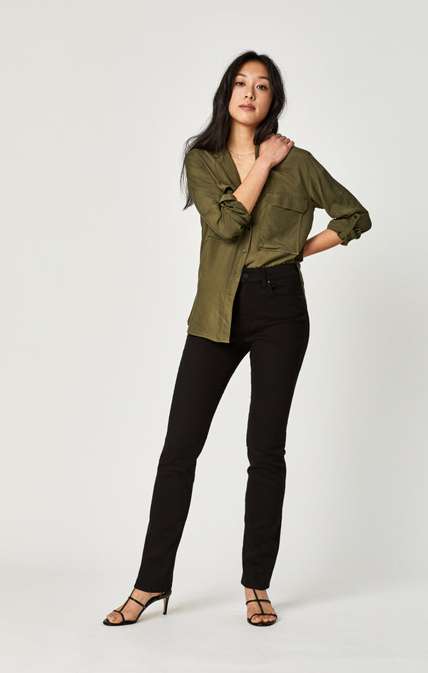KENDRA STRAIGHT LEG JEANS IN DOUBLE BLACK TRIBECA - Mavi Jeans