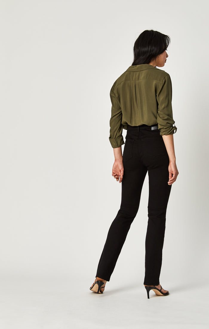 KENDRA STRAIGHT LEG JEANS IN DOUBLE BLACK TRIBECA